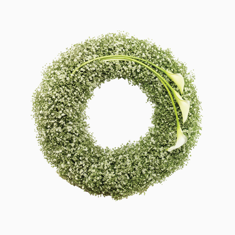 Gypsophila & Calla Wreath For Wreaths
