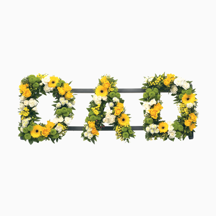 Mixed Flowers Lettering - Dad - Funerals