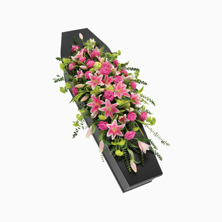Pink Rose Lily Casket Spray for Funerals