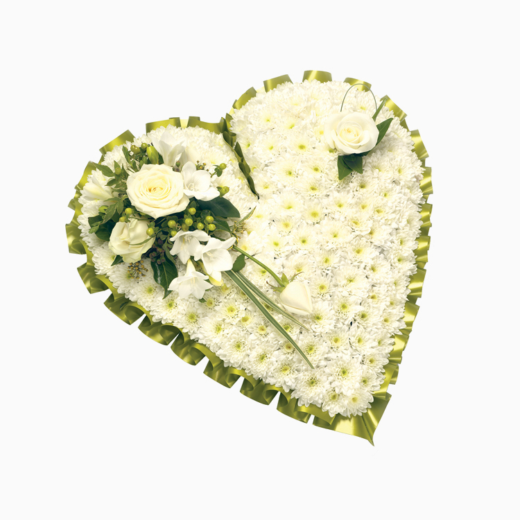 Traditional White Heart for Funerals