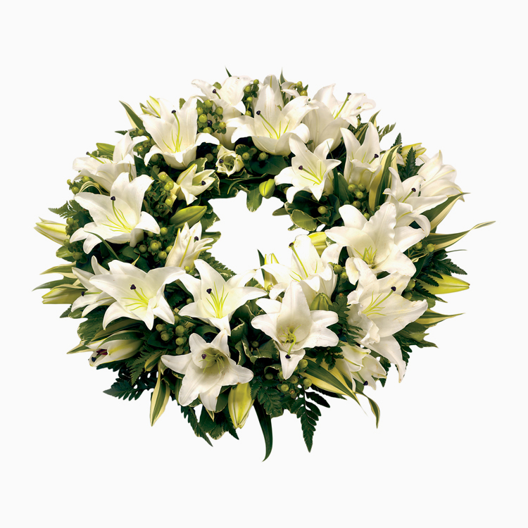 White Lily Wreath For Wreaths